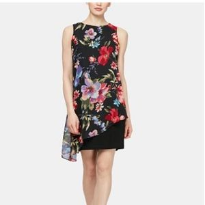 SL Fashions Floral Overlay Sheath Dress